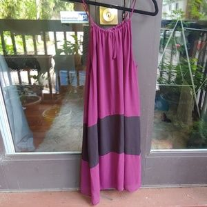 Color-block magenta dress